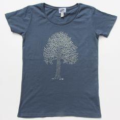 Tree on women's petrol blue t-shirt