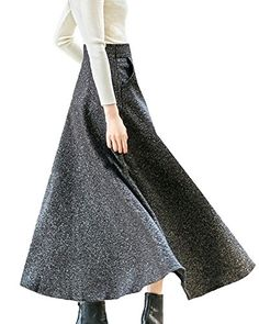 7f2f0cf1b8 LISASTOR Womens Winter A Line High Waist Flare Maxi Skirts Wool Pleated  Skirts XXL Black *