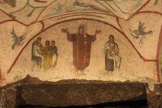 """El fresco de """"La Velata"""", en el cubículo que lleva su nombre. Catacumbas de Priscilla, Roma."""