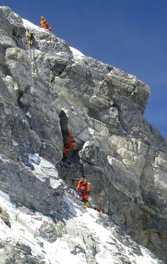 Second step (8,610m-8,650m) is the most difficult part of ascent to Mount Everest from Tibet side. It has 40 metre of almost vertical ascent. Chinese climbers have put an aluminium ladder here in 1975. Still very few climbers could have tackled it without this ladder!