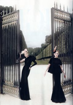 Jessica Stam in Givenchy Haute Couture dress and Chanel Haute Coutute hat.    Snejana Onopka in a top and skirt by Prada and a Leah C. Couture Millinery hat.    High Fashion Photoshoot by Karl Lagerfeld for Harper's Bazaar Romania (winter 2007/2008)