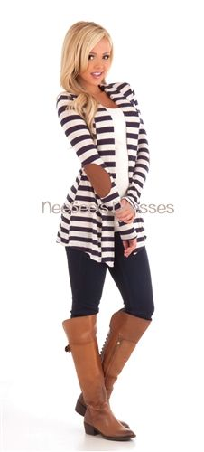 Navy and Ivory Elbow Patch Cardigan Trendy Clothing Trendy Tops Trendy Shirts Popular Clothing modest modest dresses modest dress ch. Look Fashion, Teen Fashion, Fashion Outfits, Womens Fashion, Modest Fashion, Fasion, Popular Outfits, Trendy Outfits, Cute Outfits