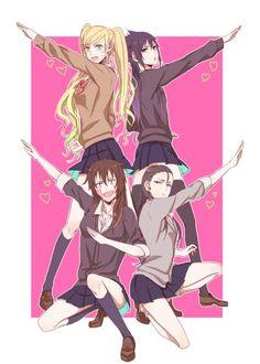 Naruto,Sasuke,Kiba and Shikamaru Gender bender