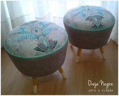 Puff Retro Aqua & Grey Tapizado en pana belga y panamá estampado. Armchair, Sewing, Decoration, Diy, Home Decor, Chairs, Stools, Couches, Furniture