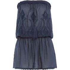 Melissa Odabash Fruley Bandeau Dress ($215) ❤ liked on Polyvore featuring dresses, blue, summer dress, slim fit dress, drawstring dress, blue dress, bandeau dress and melissa odabash