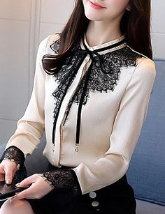 Women's Work Cotton Polyester Shirt - Solid Best Picture For . Informations About Women's Work Cot Muslim Fashion, Hijab Fashion, Korean Fashion, Girl Fashion, Fashion Dresses, Womens Fashion, Classy Outfits, Cool Outfits, Beautiful Blouses