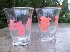 Vintage Set of 2 Elephant Juice Glasses by TheHoneysuckleTree