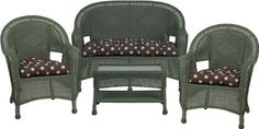 3478 Steel Frame Green Wicker 4 Piece Set with Chocolate Polka-Dot Cushions by Flash Furniture. $564.99. Durable corrosion resistant steel frame Handwoven vinyl all-weather wicker Can be used indoor/outdoor Includes matching Loveseat, 2 Chairs, and Coffee Table Also includes matching seat-cushion set as shown Made of eco-friendly materials and CA 117 compliant foam DO NOT USE BLEACH ON THIS PRODUCT Loveseat Dimensions: 49.5''W x 24''D x 36''H Chair Dimensions: 28.5''W...