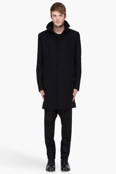 GIVENCHY Black Wool-Cashmere Officer Coat