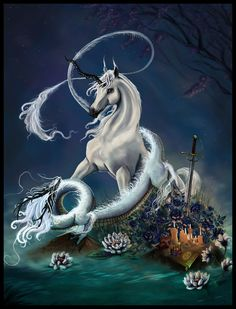 Dragon and Unicorn by ~mnedel on deviantART