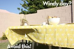 Prevent Fly-Away Tablecloths… Let's face it, even those tablecloth clips break up the beauty. So, with a few scrap pieces of fabric, here is a rockin' remedy.