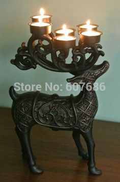 Deer Elk Candleholder with 6 Tealight Candle Holder Cups, Aluminum Alloy Metal Ornament Home Table Decor EMS Fast Free Shipping