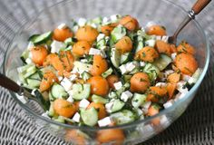 Minty Cucumber and Cantaloupe Salad is a refreshing Summer salad with honey-lime dressing for feta cheese.