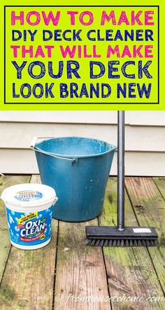 This is a great tutorial for how to make deck cleaner using oxygen bleach. This easy deck cleaning solution really makes my old wood deck look brand new again! It works great for siding, composite decks and outdoor furniture, too! Deep Cleaning Tips, House Cleaning Tips, Cleaning Solutions, Spring Cleaning, Cleaning Hacks, Cleaning Supplies, Cleaning Products, Cleaning Schedules, Weekly Cleaning