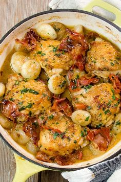 Braised Chicken Thighs with Cipollini Onions is an easy braised dish with the flavor of chicken marsala. Easy to make and a great heart-warming fall meal. Paleo Chicken Recipes, Chicken Thigh Recipes, Onion Recipes, Turkey Recipes, Cooking Recipes, Healthy Recipes, Cooking Food, Mascarpone Recipes, Recipes