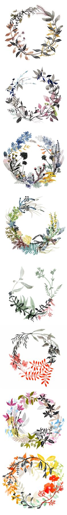 watercolor wreaths by Katie Vernon