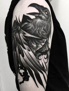 Raven tattoo #evamigtattoos #tattoo