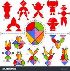 Vetor stock de Vector Tangram Egg Geometric Puzzle Collection (livre de direitos) 683868238 Diy For Kids, Crafts For Kids, Arts And Crafts, Paper Crafts, Printable Board Games, Montessori Art, Toddler Learning Activities, Travel Kits, Pattern Blocks