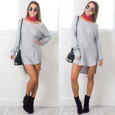 Casual Long Sleeve Mini Dress