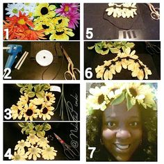 """Halo Flower headband! You will need: Fake flower,hot glue gun,black felt, black stretchy head band or 1/4"""" black ribbon, and scissors.If you're using ribbon measure the circumference of your head and add 10"""" to be able to tie it in a bow.Snip off remaining stem pieces from the flowers and leaves.Cut  rectangles of felt 1"""" L by 1/4"""" W   leaves can be added between flowers with the same method."""