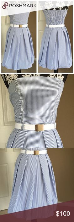 """Zara Pinstripe strapless dress Great condition. No damage. Like new.  Blue & white pinstripes dress with belt & side zipper. Measures 32"""" long bust to hem. Fabric cotton, nylon, spandex. Some stretch. Size med, per brand bust 35.4, waist 27.6, hip 38.6 Zara Dresses Strapless"""
