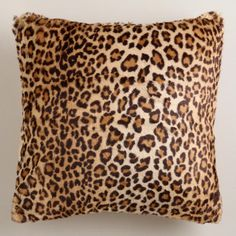 Leopard Faux Fur Throw Pillow-World Market $24.99!