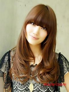 Symmetrical Front Bangs Long Hairstyles For Brown Hair