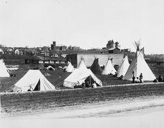 Aboriginal settlement near Rossdale (City of Edmonton Archives) National Aboriginal Day, Louvre, Canada, City, Building, Plant, Travel, Viajes, Buildings