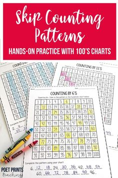 We are learning different kinds of skip counting in 2nd grade with these hands-on activities that help my students to visually see how counting patterns look on a hundreds chart. It's great to see my students be able to master counting patterns within 100. I use these worksheets in 3rd and 4th grade as well when students are learning multiplication. Learning Multiplication, Teaching Math, Kindergarten Math, Teaching Tools, Skip Counting Activities, Math Activities, 4th Grade Math, Grade 2, Pattern Grading