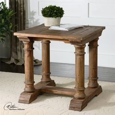 Could work in great room too Uttermost Saturia Wooden End Table