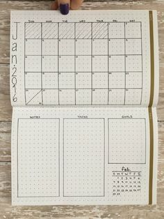 • monthly layout in planner