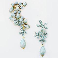 Pansey & Jameson Jewelry Collection. Beyond somethng bleu bridal ear cuff set with small vintage bridal chandelier earring. Unique. Bohemian bridal glamour.