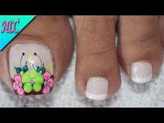 DISEÑO DE UÑAS PARA PIES FLORES Y FRANCÉS PRINCIPIANTES - FLOWERS NAIL ART - FRENCH NAIL ART - NLC - YouTube Gel Toe Nails, Gel Toes, Pedicures, Kiss, Gorgeous Nails, Work Nails, Sun, Toe Nail Art, Wedding Acrylic Nails