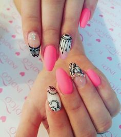 Pink nails hand draw