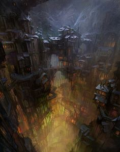 city in cave by snowskadi - Concept Art by Snow Skadi  <3 <3