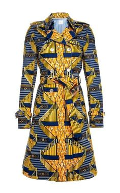 Shop Coconut Wax Trench by Stella Jean for Preorder on Moda Operandi ~African Prints, African women dresses, African fashion styles, african clothing African Print Dresses, African Wear, African Attire, African Fashion Dresses, African Dress, African Prints, African Style, Fashion Outfits, African Women