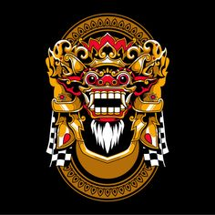 Traditional balinese mask of terrible mythical defender Barong Bali, Samurai Mask Tattoo, Japanese Mask Tattoo, Design Kaos, Mask Drawing, Indonesian Art, Arm Sleeve Tattoos, Silhouette Clip Art, Music Logo