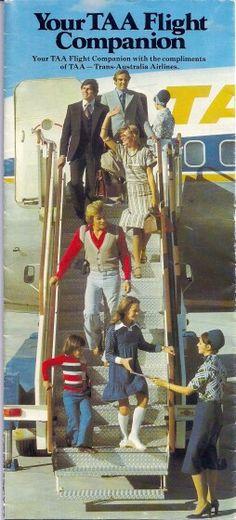 TAA Flight Guide Vintage Travel Posters, Vintage Ads, Vintage Airline, Pacific Airlines, Australian Airlines, Posters Australia, Domestic Airlines, Airline Uniforms, Australian Vintage