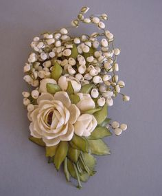 Corsage Style Seashell Brooch.
