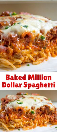 Baked Million Dollar Spaghetti is creamy with a melty cheese center, topped with meat sauce and extra bubbly cheese. Tastes like a cross between baked ziti and lasagna with half the effort! Read more at: Baked Million Dollar Spaghetti dinnerthendessert. Spaghetti Recipes, Pasta Recipes, Beef Recipes, Dinner Recipes, Cooking Recipes, Million Dollar Spaghetti Pie Recipe, Spagetti Bake Recipe, Lasagna Recipes, Healthy Recipes