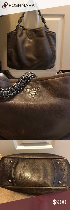 Prada chervo lux Authentic prada lux, dark grey degrade lamb skin sholder bag. Great condition with tags and dust bag. My mother purchased it but now has to sell her. Only worn a handful of times. Absolutely beautiful bag. Prada Bags Hobos