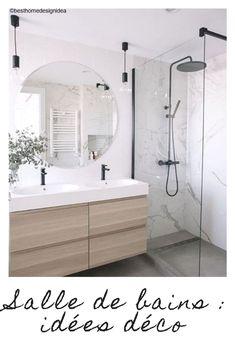 Idées déco et aménagements pour une salle de bains #idée #idées #déco #décoration #aménagement #aménager #salledebains #salledebain #douche #bois #noir #blanc #marbre