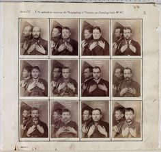 A page from an album of criminal register photographs, taken by a unknown photographer at Wormwood Scrubs prison in about 1890. The criminals hold up their hands to show any identifying features, such as tattoos or missing fingers. A mirror placed on their right shoulder captures their profile. National Media Museum, Bradford, Great Britain. Photo:  SSPL/National Media Museum / Art Resource, NY