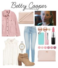 A fashion look from June 2017 featuring white sleeveless blouse, pink jacket and high-waisted jeans. Browse and shop related looks. Betty Cooper Style, Betty Cooper Aesthetic, Betty Cooper Outfits, Tv Show Outfits, Teen Fashion Outfits, Girly Outfits, Cute Casual Outfits, Betty Cooper Riverdale, Riverdale Betty