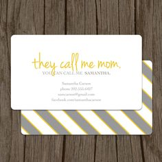 They Call Me Mom Calling Card - Set of 100. $48.00, via Etsy.