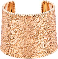 Van Cleef & Arpels Perlée cuff bracelet set in 18-karat rose gold.