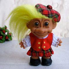 Vintage Scottish Christmas Troll Doll with Tartan Plaid Kilt and Tam