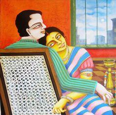 A Revolutionary Act Indian Art Gallery, World Images, Revolutionaries, Folk Art, Mona Lisa, Acting, Couple Painting, Figurative, Artwork