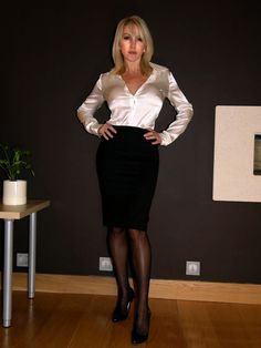 Black Pencil Skirt White Satin Blouse Sheer Black Pantyhose and Black Stiletto High heels