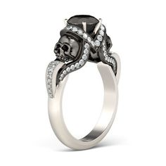 Twist Vapor-like 2-tone Round Cut Black Diamond Rhodium Plated Sterling Silver Skull Ring